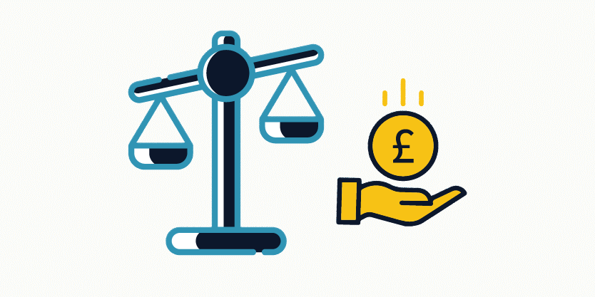 High court recovery icon with a weighing scale and a pound coin falling on an open palm