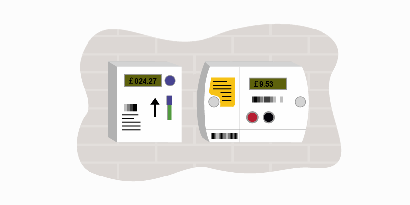 Image of electric and gas smart meters with key